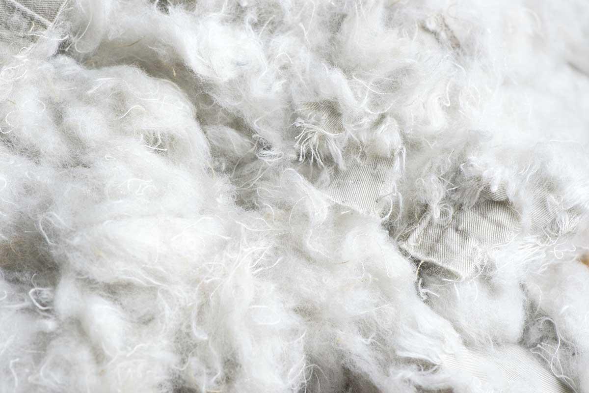 Fibras que serão transformadas em algodão reciclado.