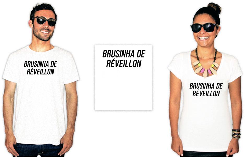 Camiseta com uma estampa escrita brusinha de reveillon