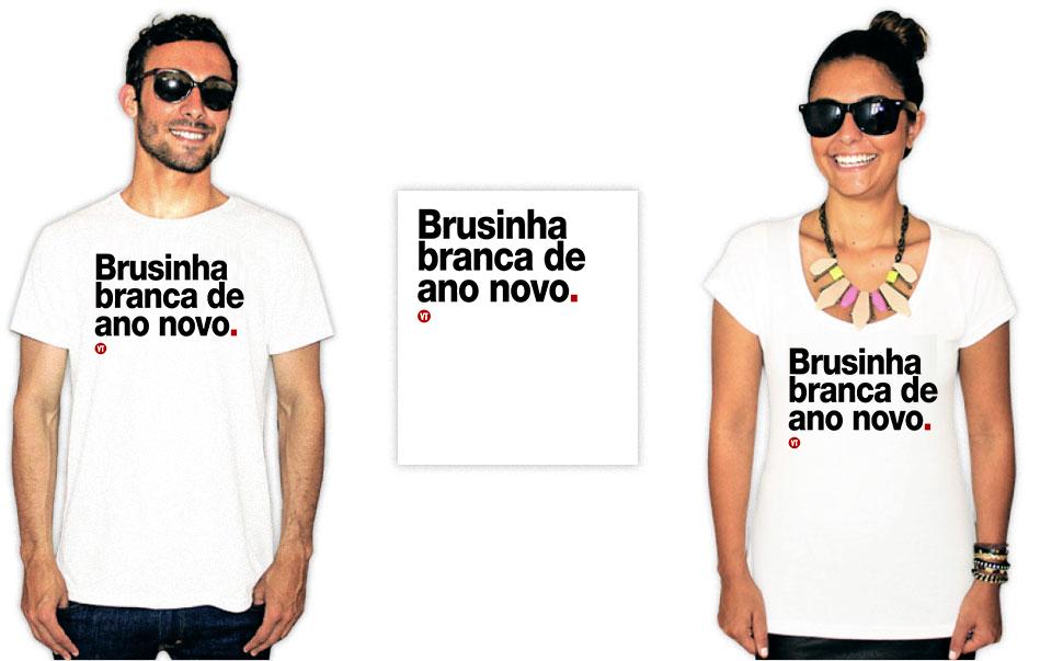Camiseta com uma estampa escrita Brusinha branca de ano novo