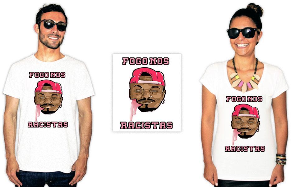 Camiseta Com Estampa anti racista fogo nos racistas Djonga