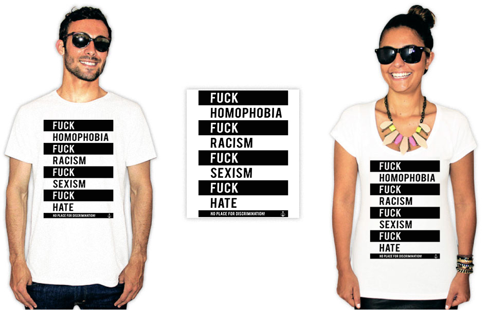 Camiseta Com Estampa anti racista fuck homophobia racism