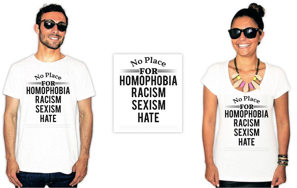 Camiseta Com Estampa anti racista no place for racism homophobia hate sexism