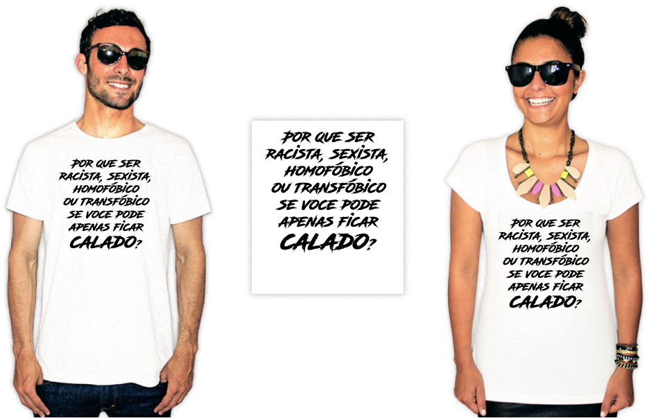 Camiseta Com Estampa anti preconceito racista homofóbico