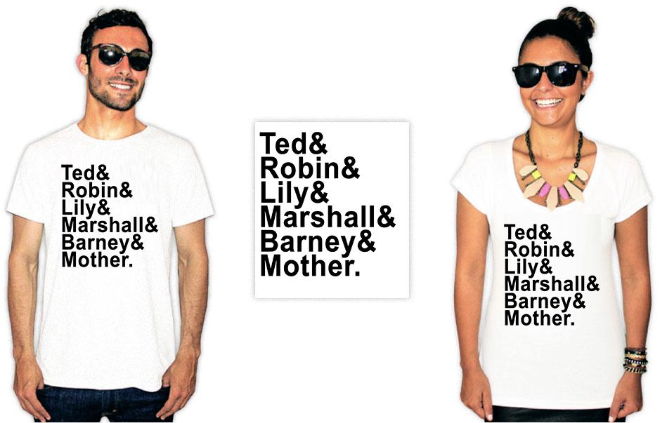 Camiseta com a estampa da série How I met your mother integrantes