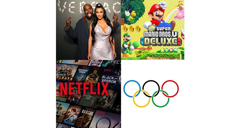 Kanye West e Kim Cardashian Super Mario Bros Netflix e olimpiadas