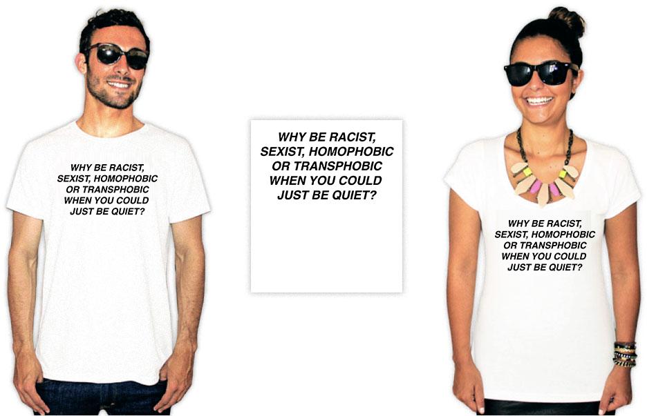 Camiseta Com Estampa anti racista why be racist, sexist
