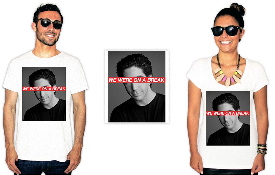 Camiseta com estampas da série Friends com o Ross e a frase we are on a break