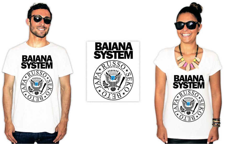 Camiseta com estampa do baiana system estilo ramones