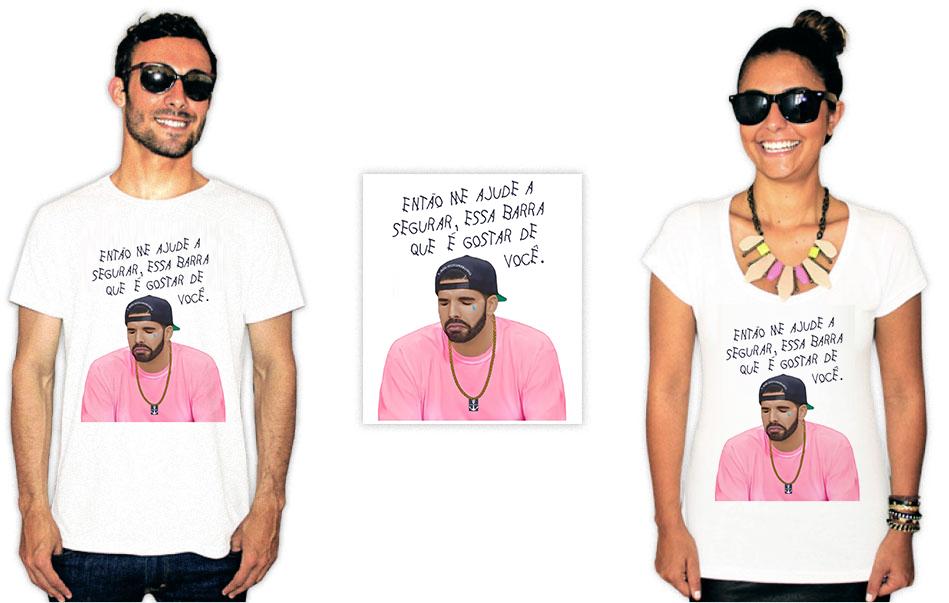 Camiseta com estampa da banda Raça Negra com o drake