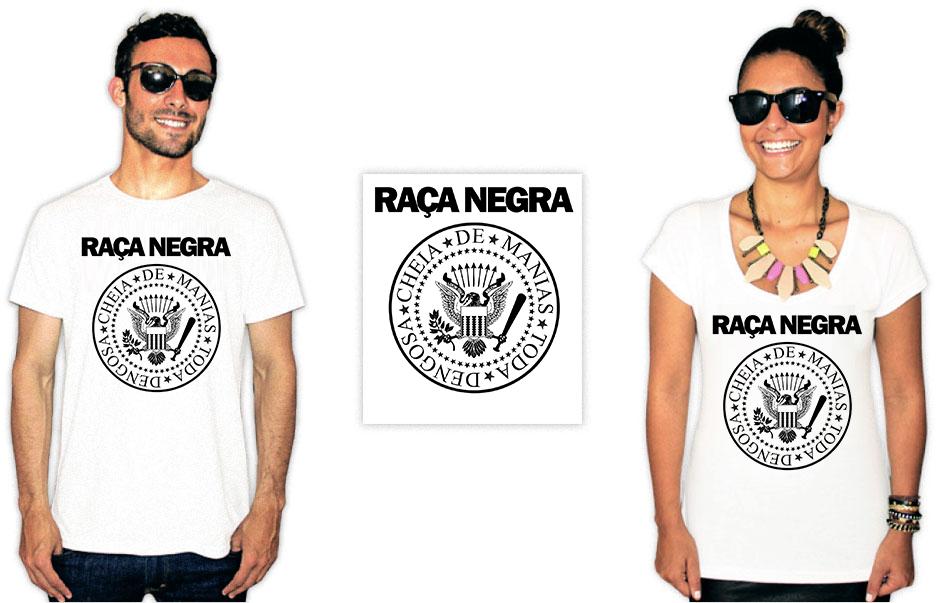 Camiseta com estampa da banda Raça Negra com integrantes estilo ramones