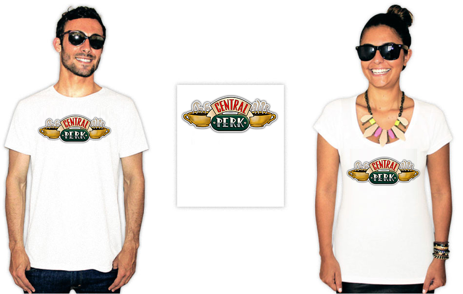 Camiseta com estampas da série Friends com o logo do café Central Perk