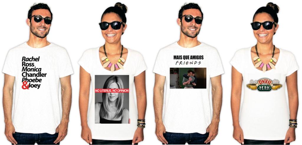 Pessoas usando camisetas com estampas da série Friends
