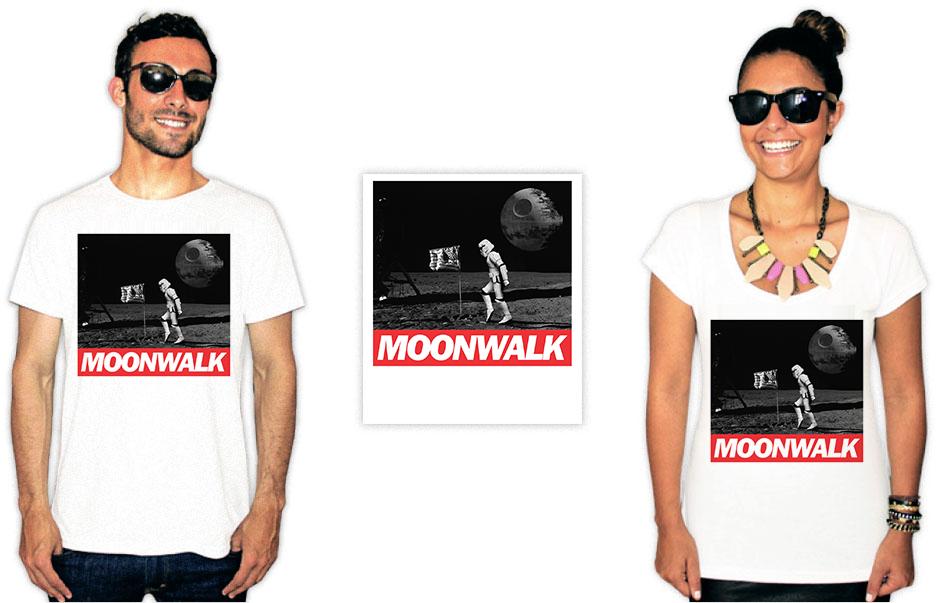 Camiseta com a estampa do filme star wars moonwalk