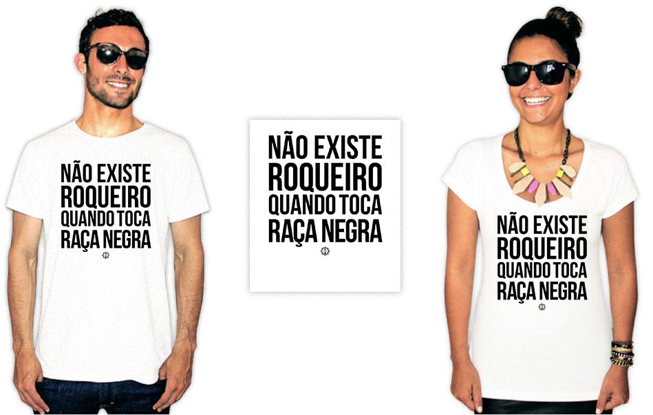 Camiseta com estampa da banda Raça Negra roqueiro
