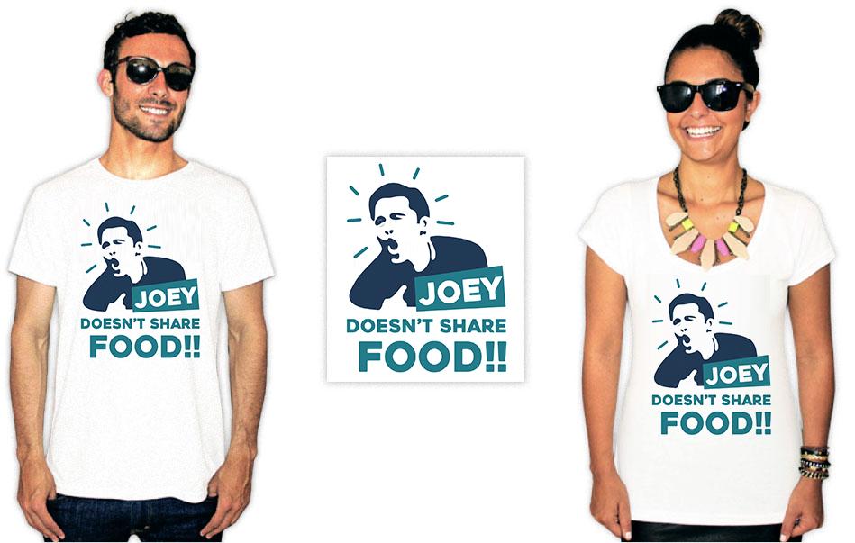 Camiseta com estampas da série Friends joey doesn't share food