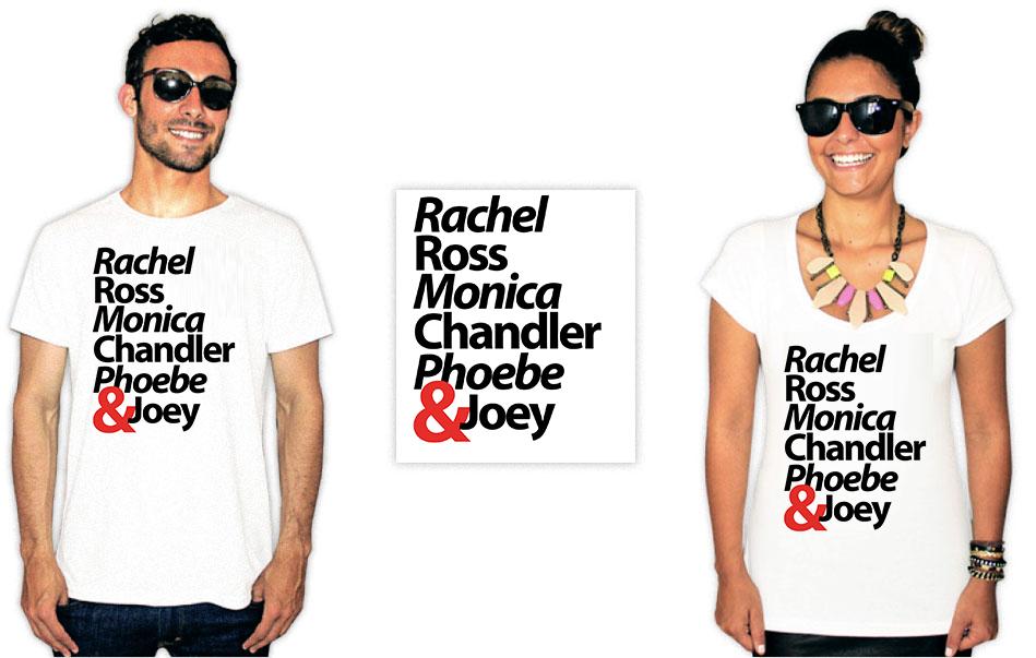 Camiseta com estampas da série Friends com o nome de todos personagens