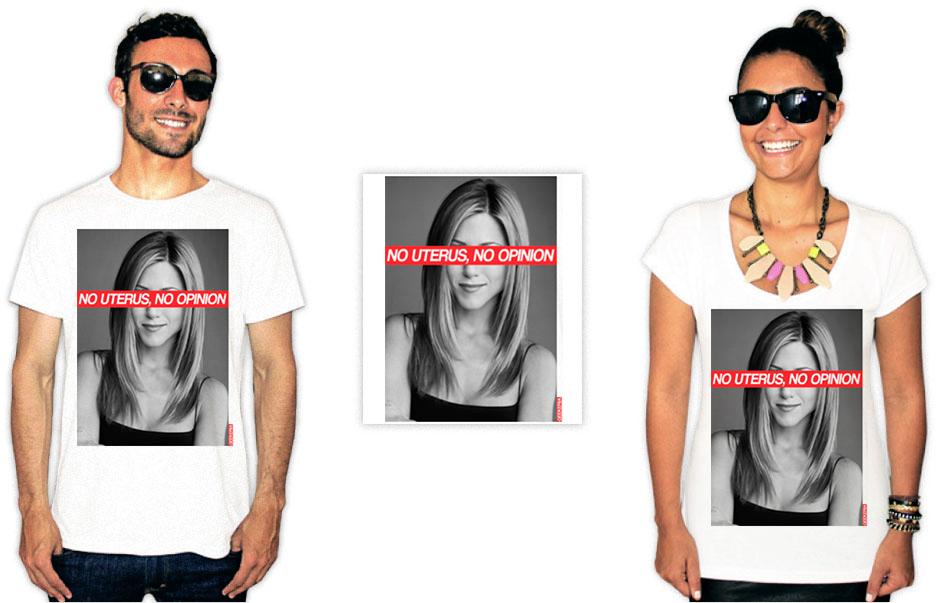 Camiseta com estampas da série Friends da Rachel com a frase no uterus no opinion