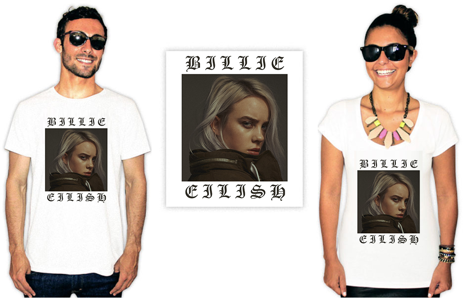 Camiseta com Estampa da cantora Billie Eilish Tug