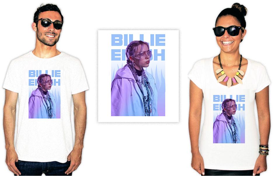 Camiseta com Estampa da cantora Billie Eilish Blue