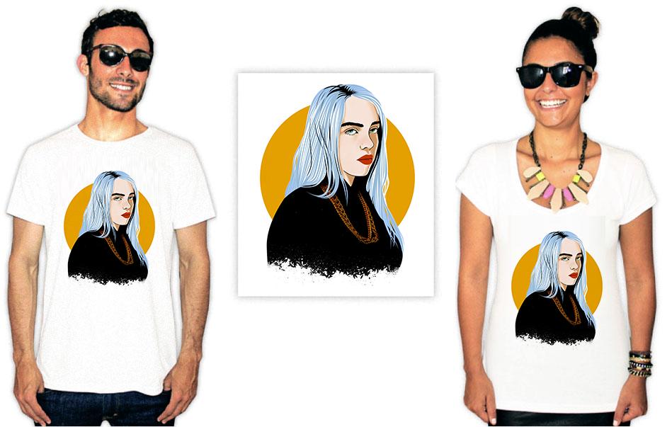 Camiseta com Estampa da cantora Billie Eilish ilustrada