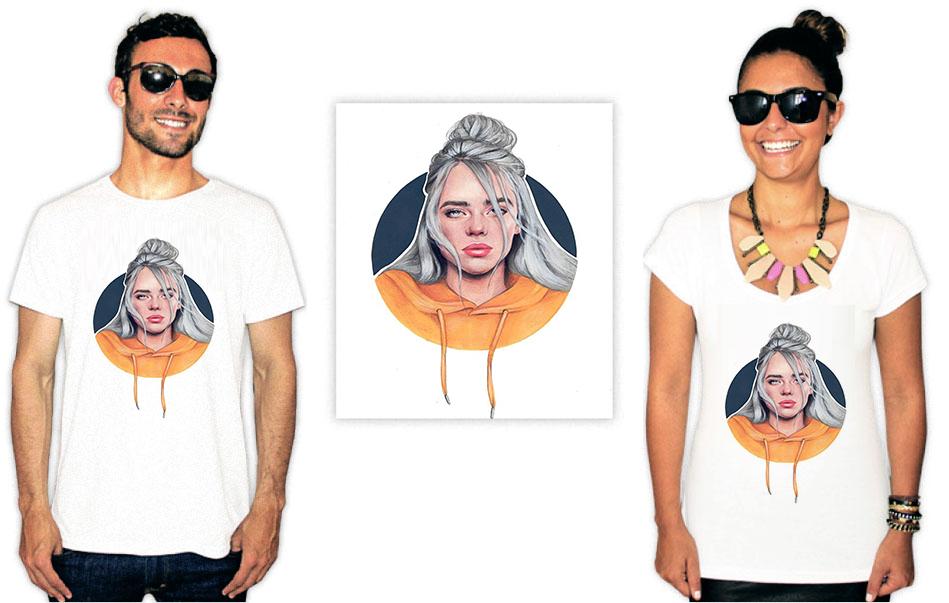 Camiseta com Estampa da cantora Billie Eilish Ilustração