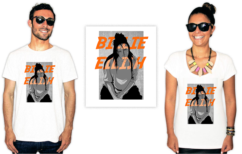 Camiseta com Estampa da cantora Billie Eilish Sad