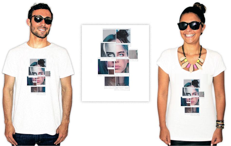 Camiseta com Estampa da cantora Billie Eilish Polaroids
