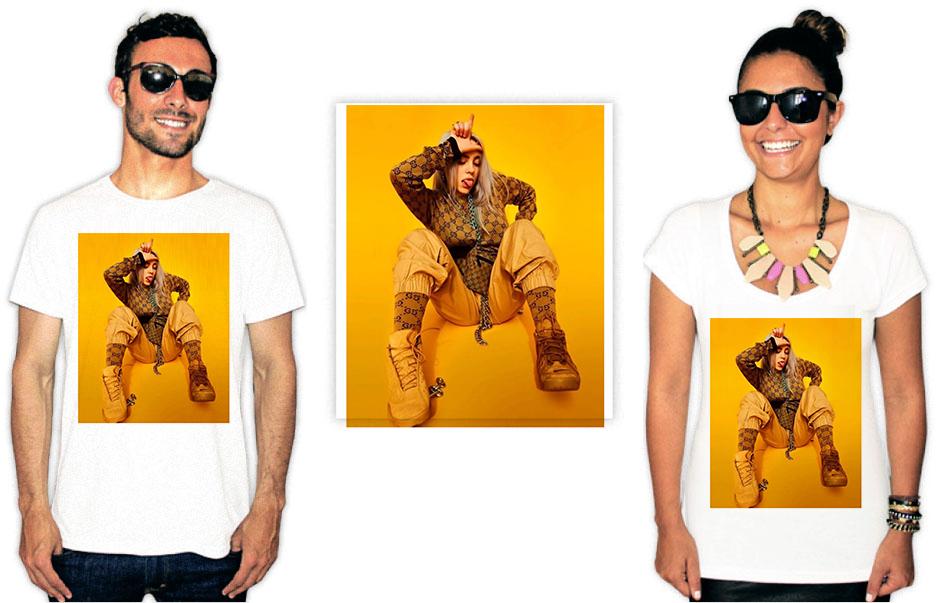 Camiseta com Estampa da cantora Billie Eilish Yellow