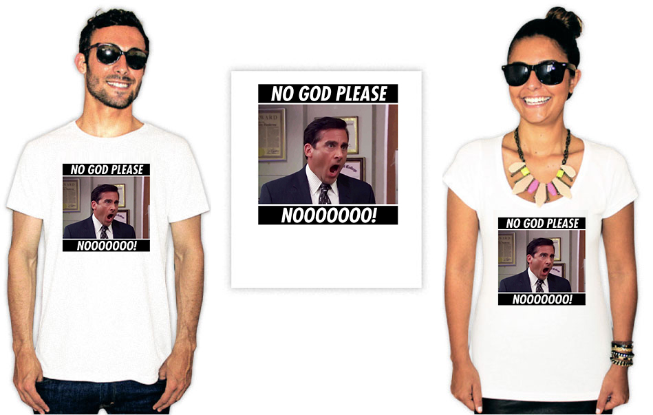 Camiseta com estampa do seriado The Office No God Please