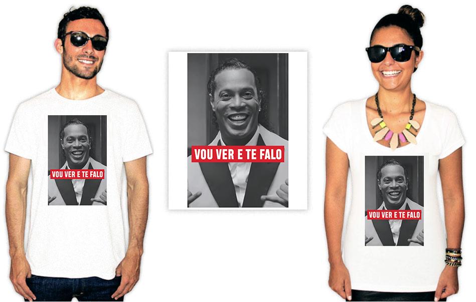 Camiseta com a estampa Vou ver e te falo Ronaldinho Gaúcho