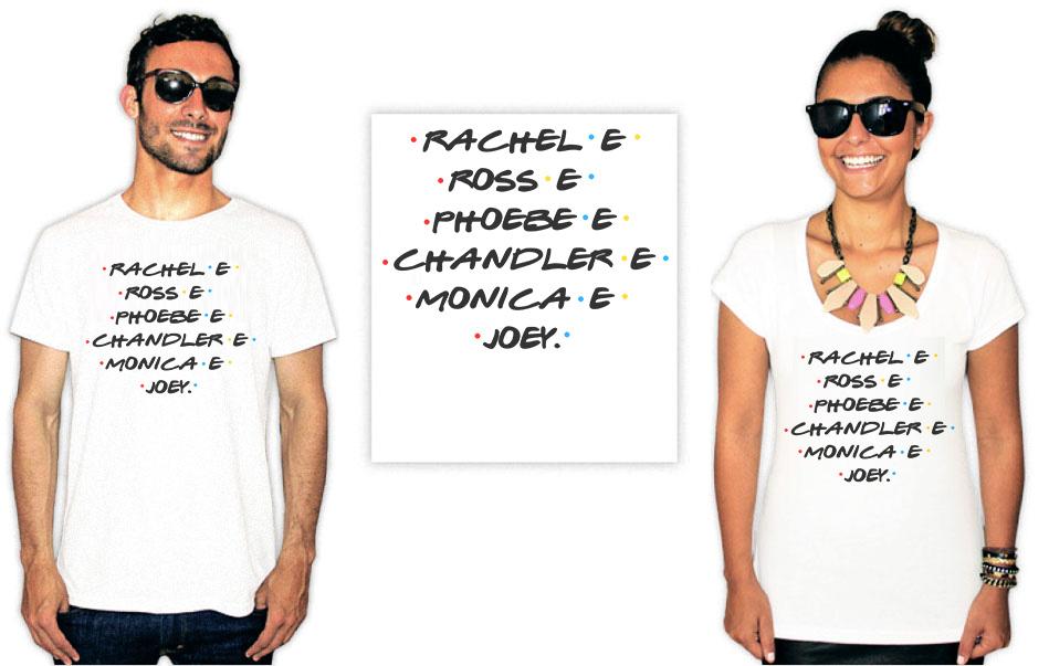 Camiseta com estampas da série Friends como todos nomes do principais