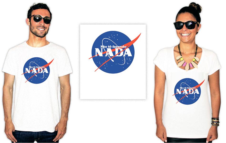 Camiseta com a estampa do logo da Nasa num mashup escrito não tô fazendo nada