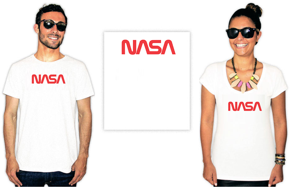 Camiseta com a estampa do logo antigo da Nasa