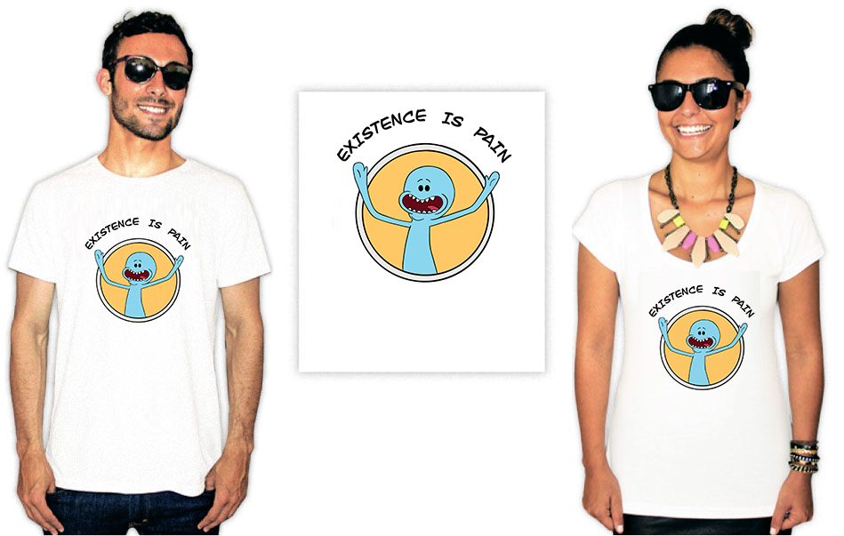 Camiseta com estampa Rick e Morty existence is pain