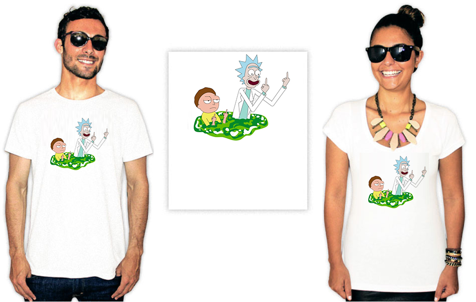 Camiseta com estampa Rick e Morty vai se fude