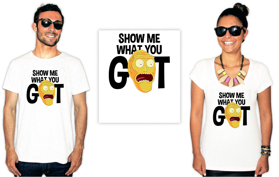 Camiseta com estampa Rick e Morty show me what you got