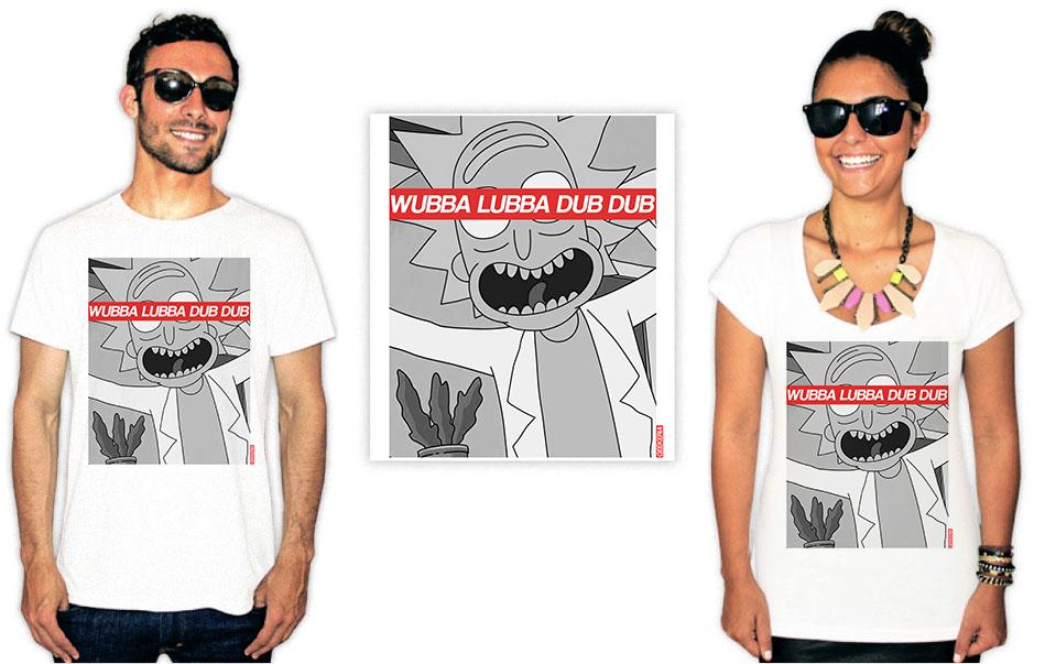 Camiseta com estampa Rick e Morty wubba lubba dub dub
