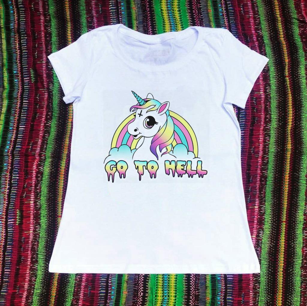 Camiseta com estampa de arco-íris go to hell
