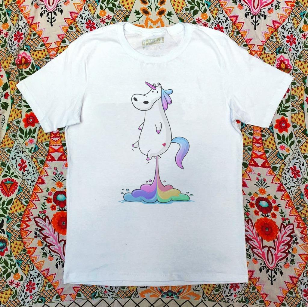 Camiseta com estampa de arco-íris peido arco-íris unicórnio