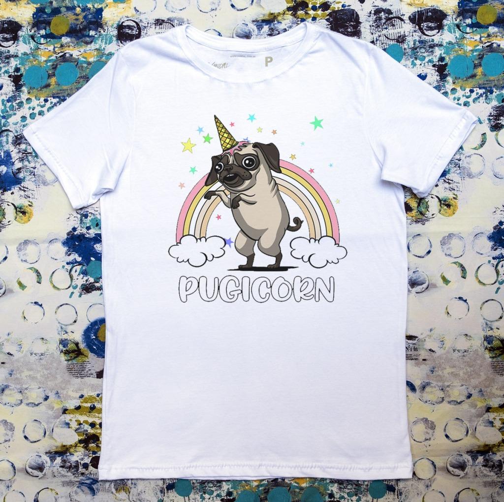 Camiseta com estampa de arco-íris pugicorn