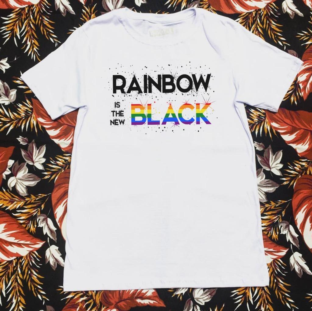 Camiseta com estampa de arco-íris rainbow black