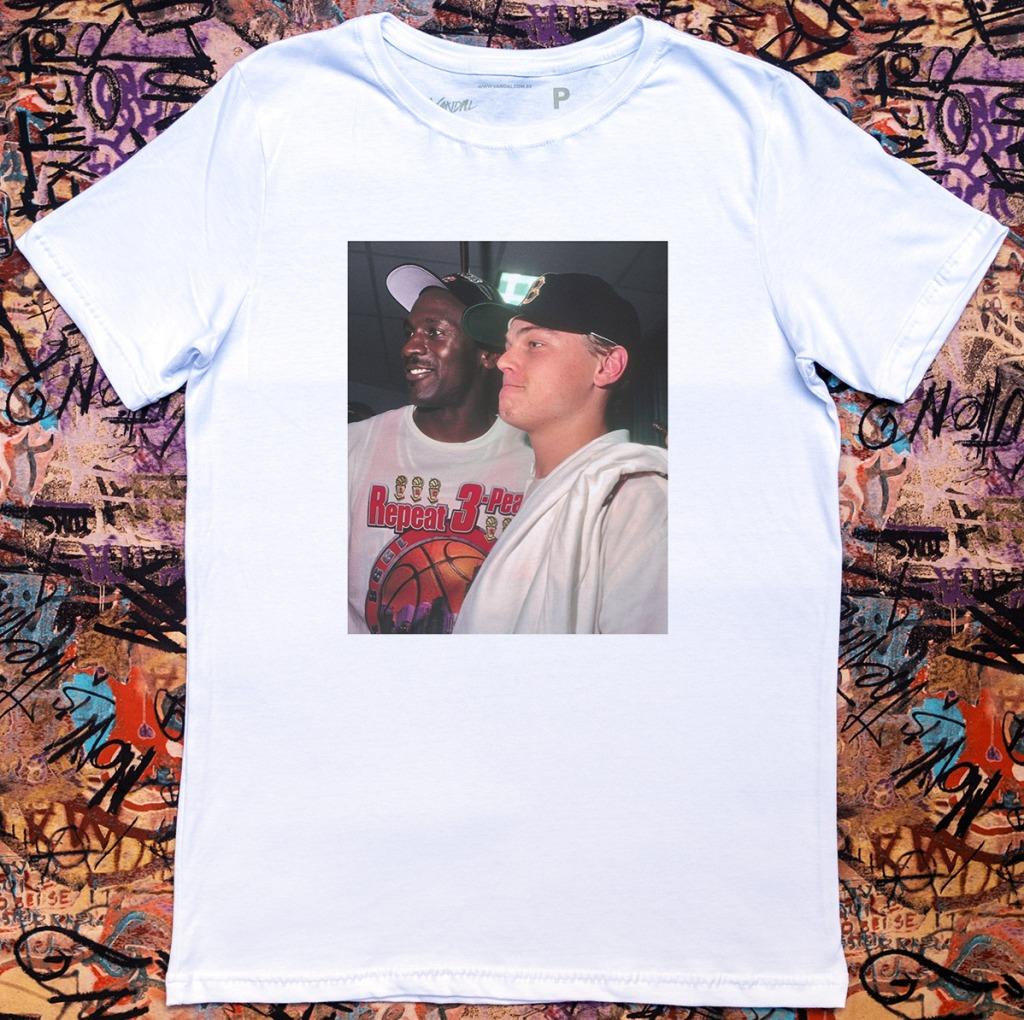 Camiseta Michael Jordan com Leonardo di caprio