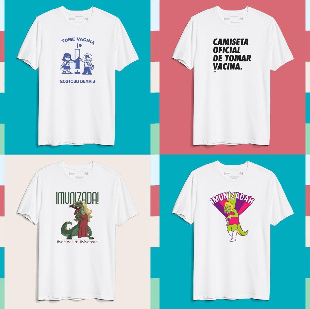 4 camisetas com estampas sobre a vacina covid 19